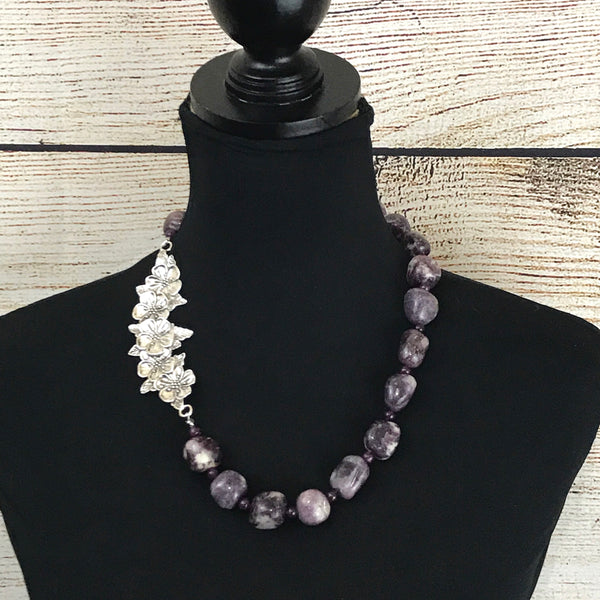 Kara Purple Vintage Stone Necklace