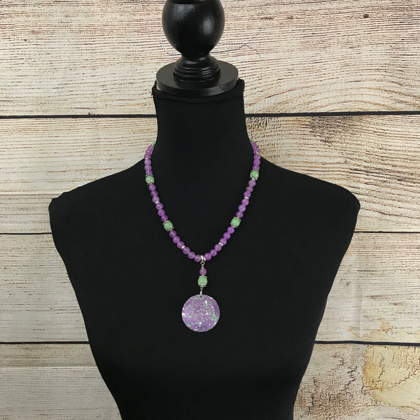 Maddie Lavender and Mint Green Beaded Necklace with Pendant