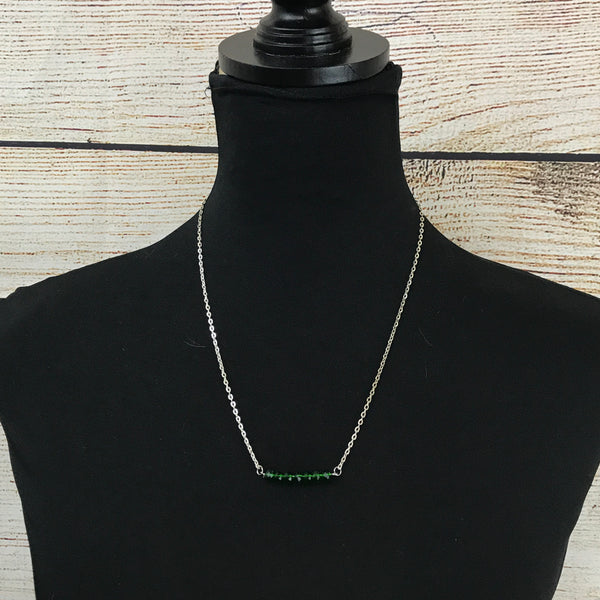 silver tone chain, beaded bar pendant, seed beads, single strand necklace