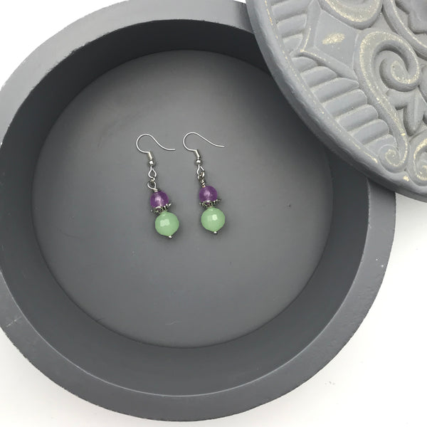 Maddie Lavender and Mint Green Dangle Earrings