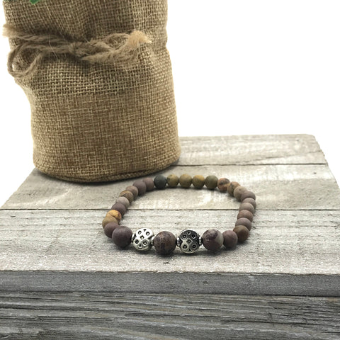 Olivia Brown Matte Jasper Beaded Stretch Bracelet