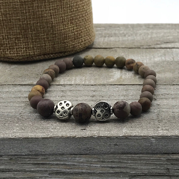 brown and grey round beads, stretch bracelet, bracelet for men, bracelet for women