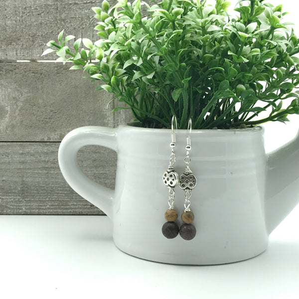 Olivia Matte Brown Jasper Dangle Earrings