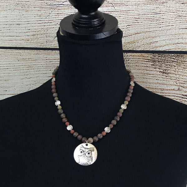 brown round beads, grey round beads, jasper beads, silver tone owl pendant, single strand necklace