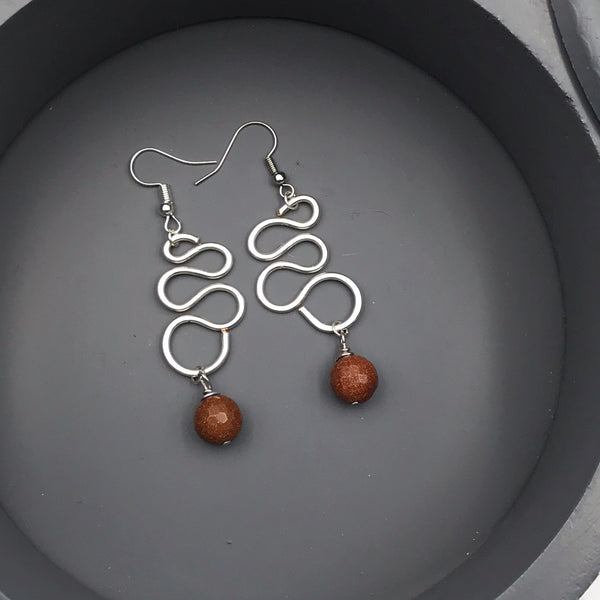Brown Goldstone Wire Swirl Pendant Drop Earrings