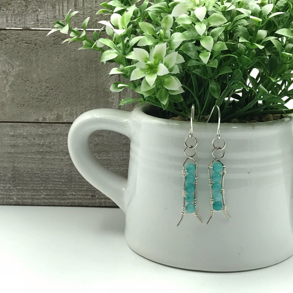 Light Blue Wire-Wrap Beaded Dangle Earrings