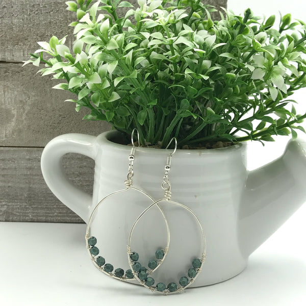 Wire Wrapped Hoop Earrings with Light Green Faceted Czech Glass Beads
