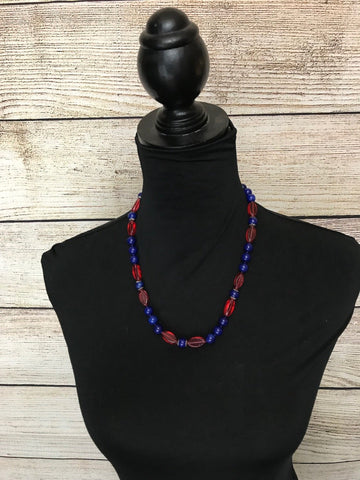 Noele Red and Blue Beaded Necklac