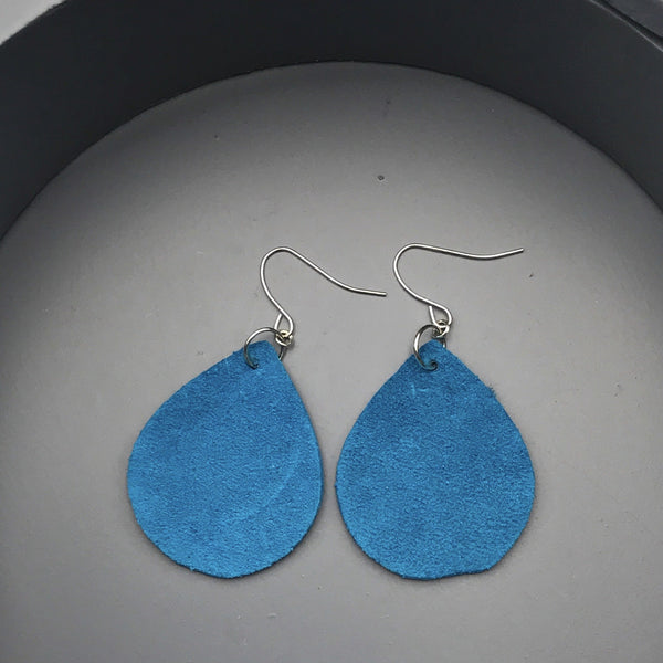 blue suede teardrop dangle earrings, light weight dangle earrings, blue suede teardrop dangle earrings