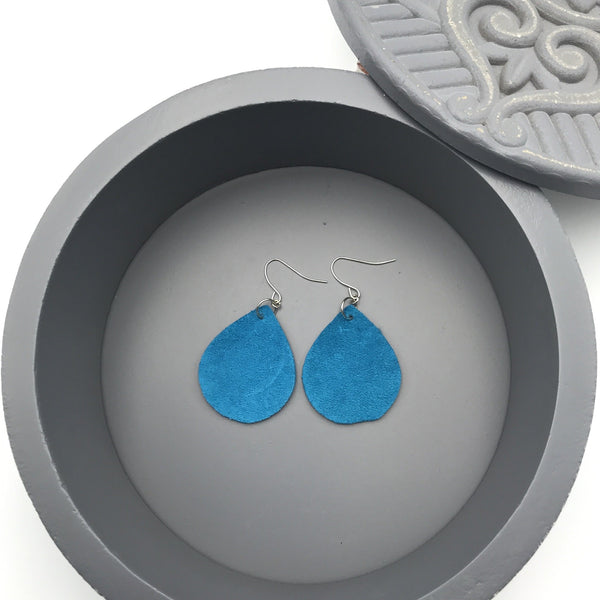 Blue Suede Teardrop Earrings