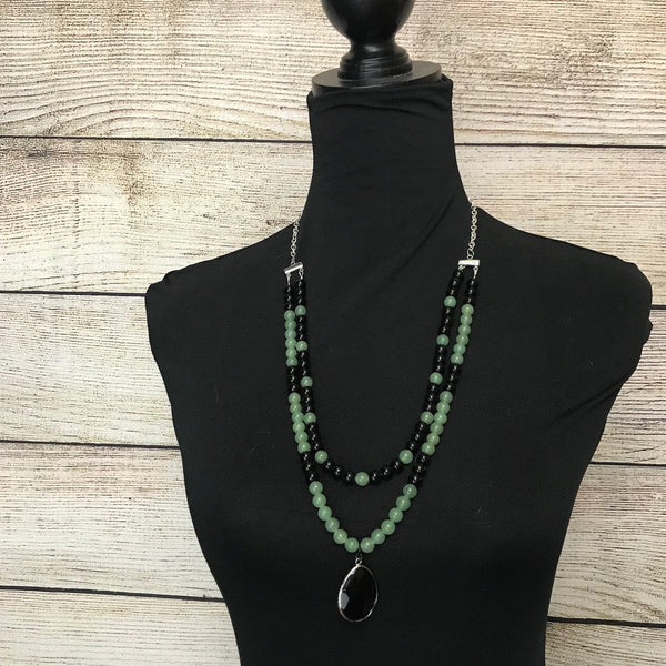 Faye  Green Jade and  Black Glass Beaded Necklace