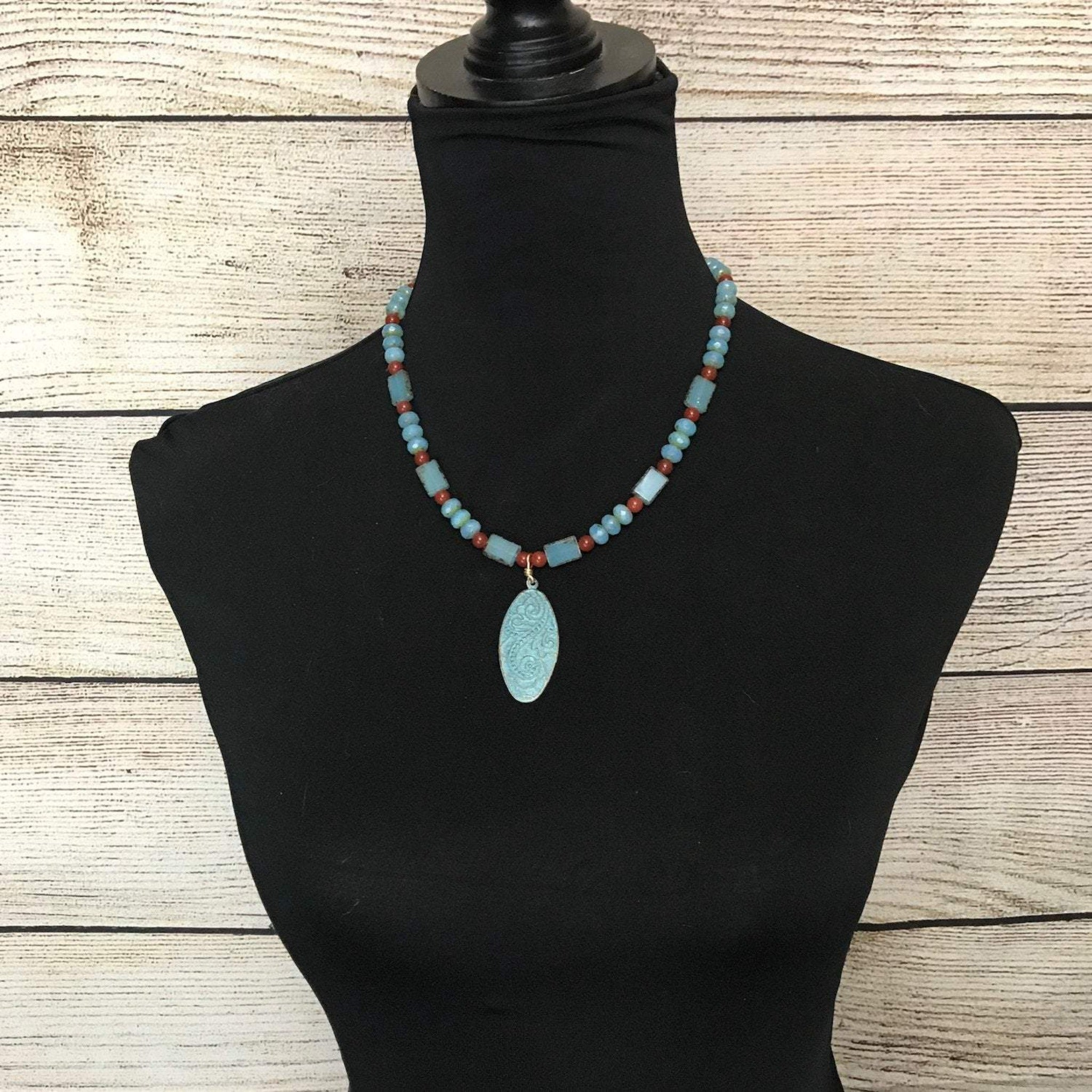 Leslie Blue and Orange Pendant Necklace