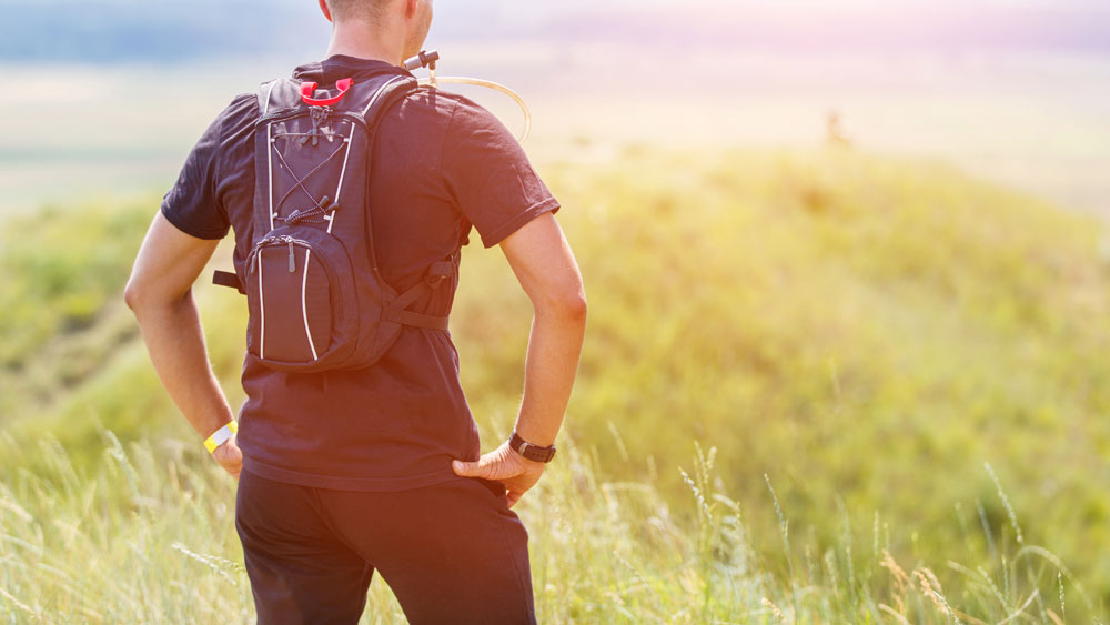 Man with hydration pack