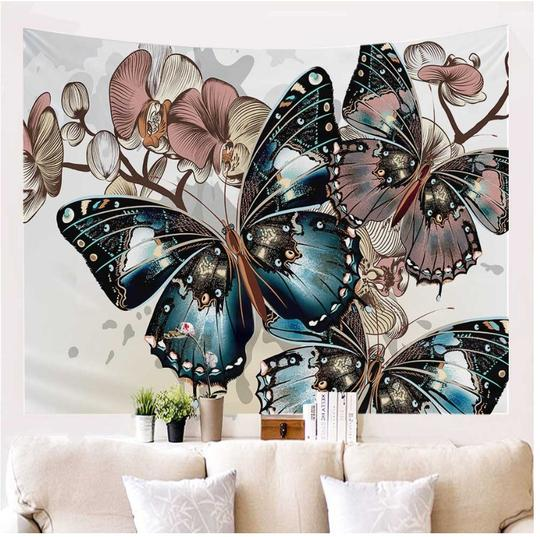 Butterflies On The Wall Tapestry