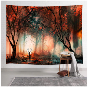 Autumn Foggy Forest Tapestry