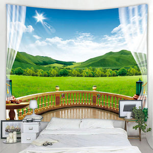 Balcony Over The Meadow Tapestry