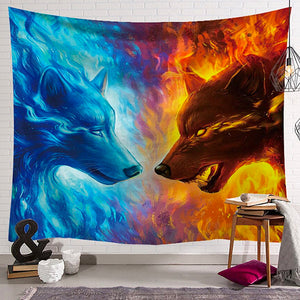 Fire And Ice Wolf Tapestry