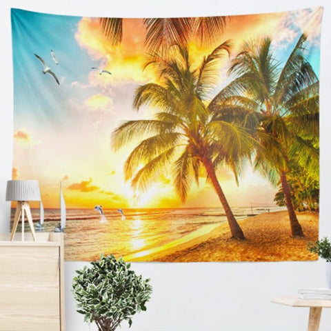 Golden Hour At The Beach Tapestry