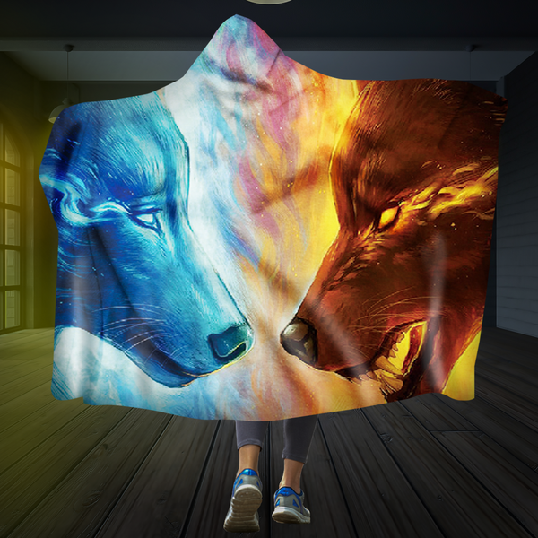 Fire And Ice Wolf Hooded Blanket
