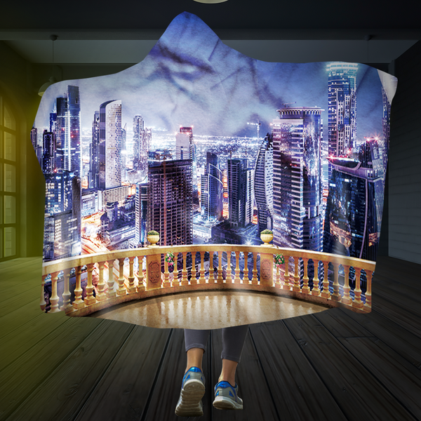 Balcony Over The City Hooded Blanket
