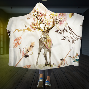 Deer Flower Hooded Blanket