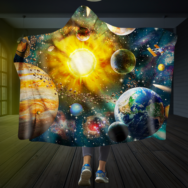 The Sun and the Planets Hooded Blanket