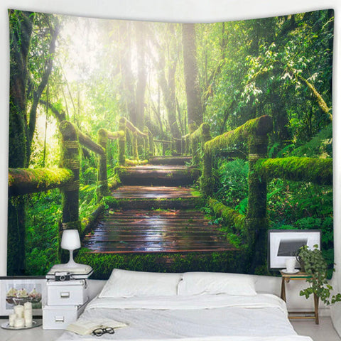 Moss Forest Bridge Tapestry