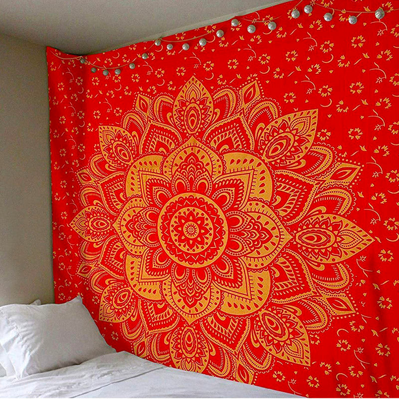 Red Flower Mandala Tapestry