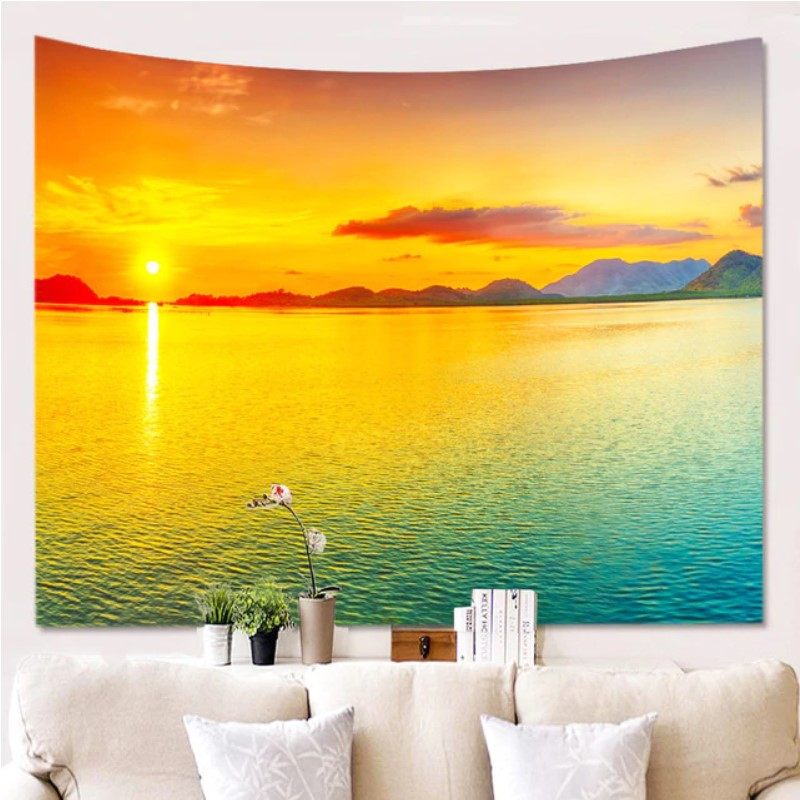 Sunset by the Beach Tapestry