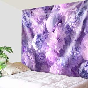 Wall of Purple Flowers Tapestry
