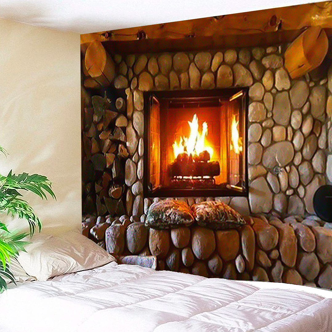 Stone Fireplace Tapestry