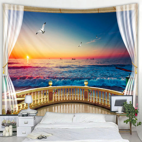 Waves Of Sunset Tapestry