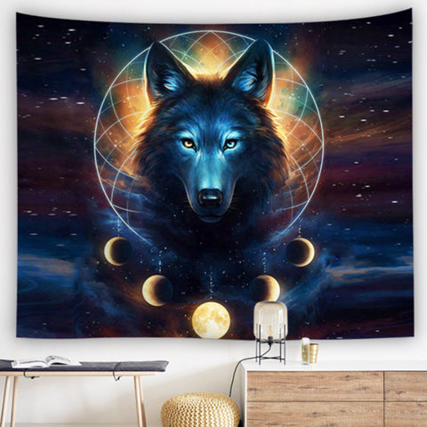 Wolf Moon Dreamcatcher Tapestry