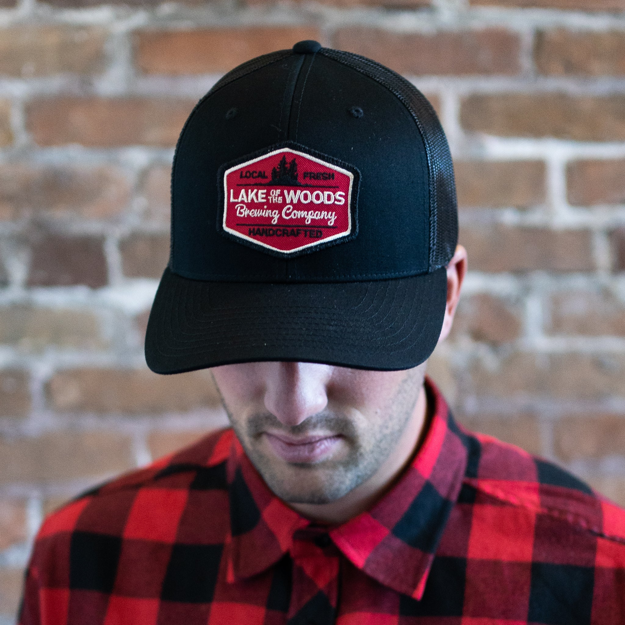Black Snapback with Red Patch
