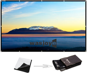 16:9 Portable Projector Screen High Contrast Collapsible PVC HD 4K Design Hanging Hole Grommets Front Projection Home Indoor Outdoor Movie Match Party