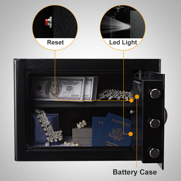 Security Safe Cash Box with Double Digital Keypad Safety Key Lock for Home Business Office Hotel Money Document Jewelry Passport Fireproof Waterproof Cabinet 0.7Cubic Feet, Black
