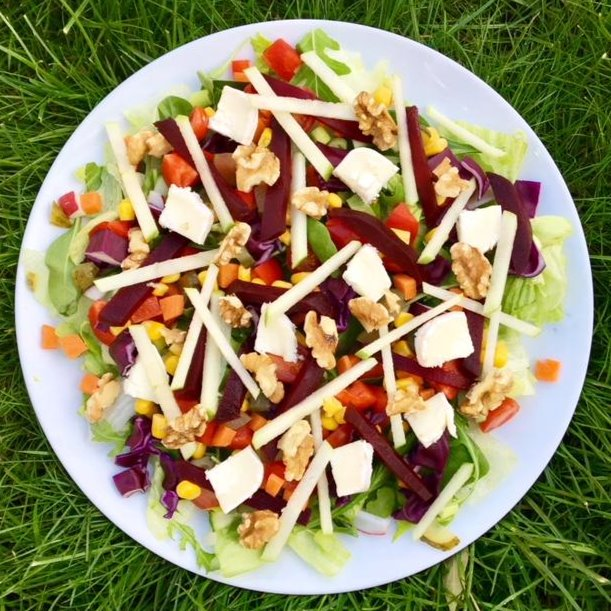 Goat's cheese, apple, beetroot and walnut salad