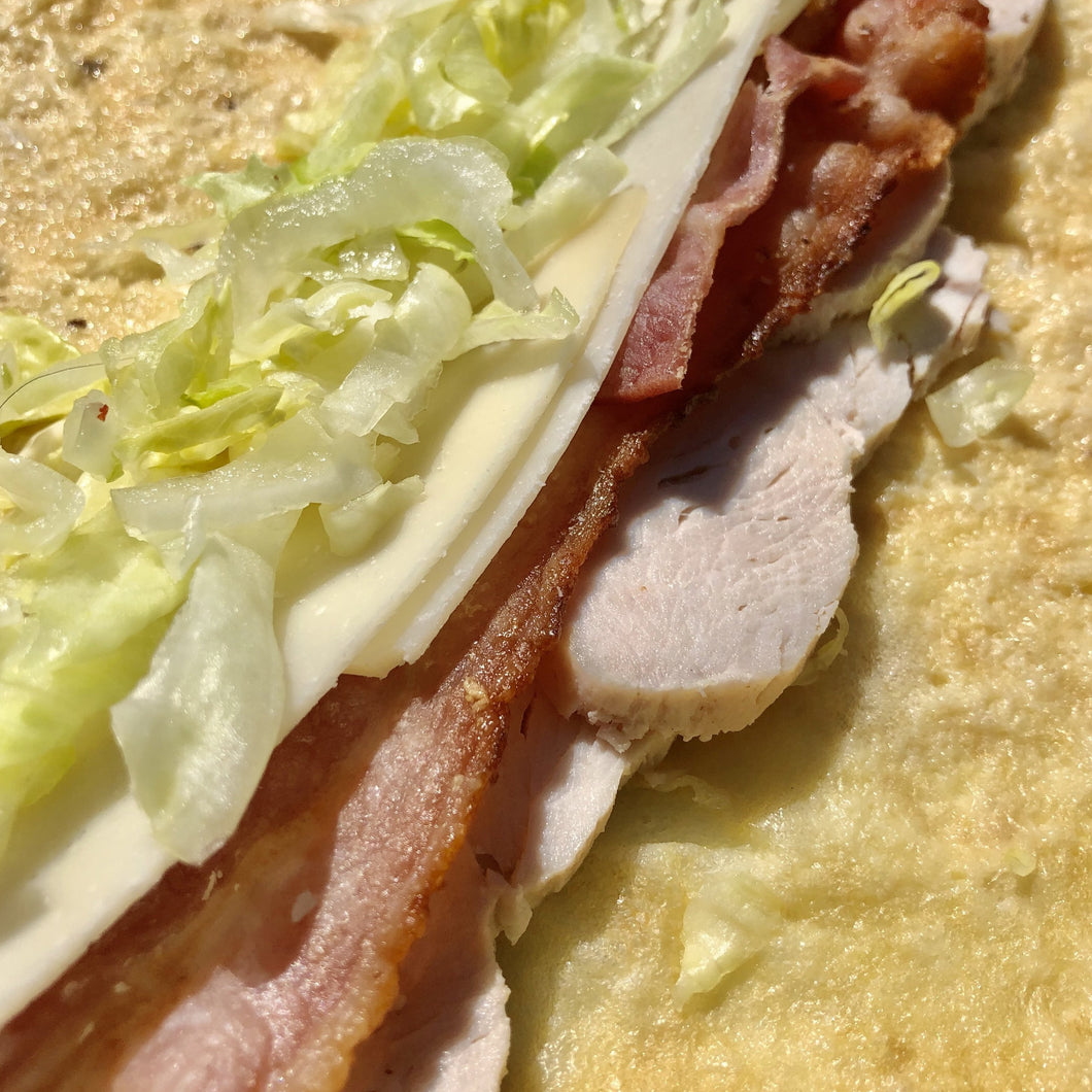 Chicken and bacon Caesar egg wrap