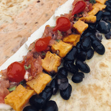 Load image into Gallery viewer, Halloumi, black bean, roasted sweet potato, salsa & roquito pepper egg wrap