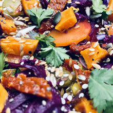 Load image into Gallery viewer, Sweet potato, pickled cabbage, sundried tomato, mixed seeds and coriander salad