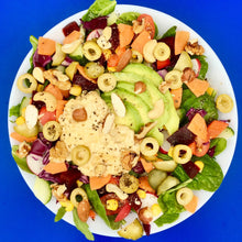 Load image into Gallery viewer, Avocado, olive, hummus and mixed nut salad