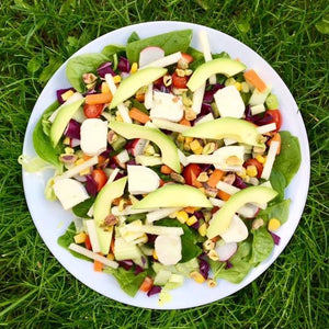 Goat's cheese, avocado, pear and pistachio salad