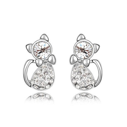 Pretty Cat Rhinestone Earrings