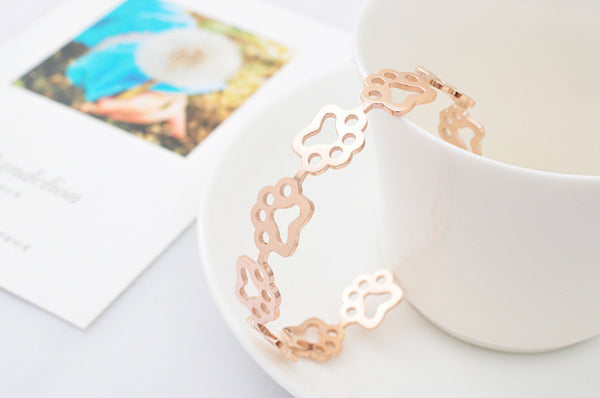 Crazy Cat Paw 14K Rose Gold Bangle