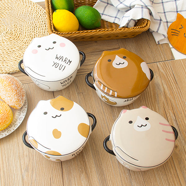 Chubby Cat Porcelain Bowl & Mug Set