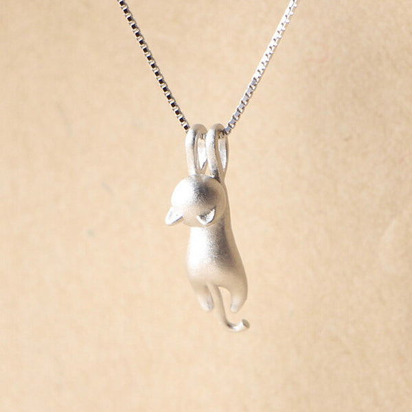 The Hanging Cat Silver Necklace