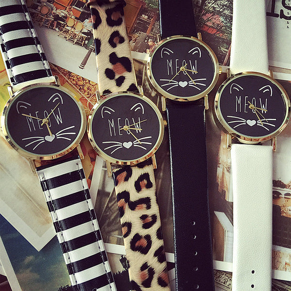 Meow Cat Face Vintage Style Watch - One Cool Gift  - 1