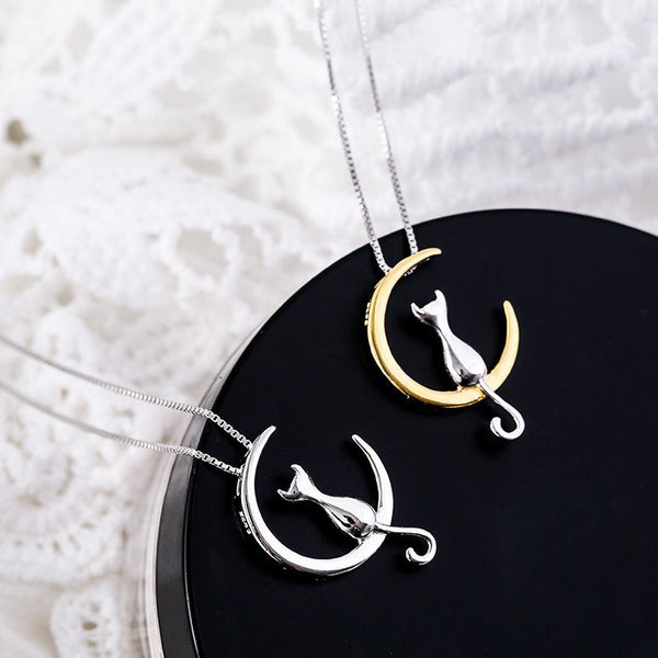 The Cat on the Moon Silver Necklace