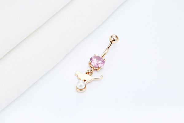 The Cat & Pearl Belly Button Ring