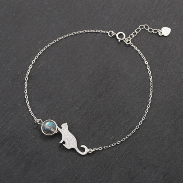 I Love My Cat To The Moonstone Bracelet